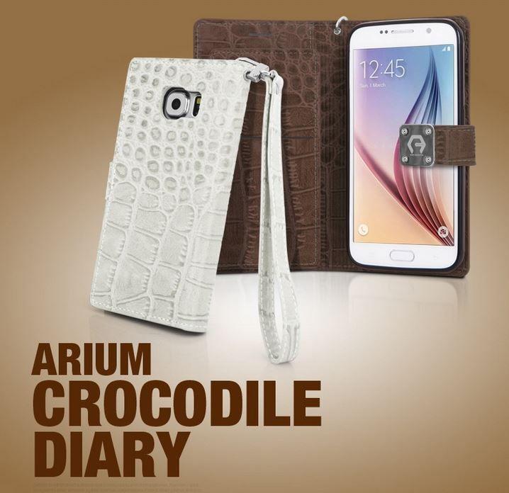 ARIUM CROCODILE DIARY WALLET FOLIO PHONE CASE FOR GALAXY NOTE 3