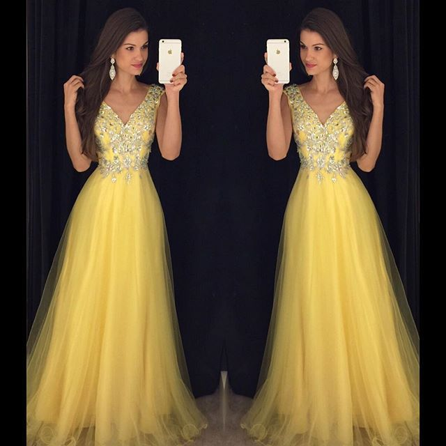 Yellow Gold Prom Dresses 86