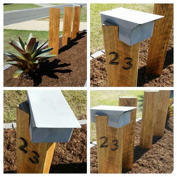 Australian hardwood timber sleepers have been planed and sanded back to reveal the timber grain underneath. Coated with a marine grade exterior timber varnish. Box and numbers mounted with galvanised fixings. EcoBuilt Landscaping Brisbane