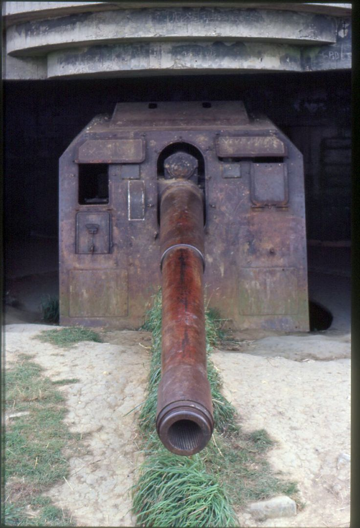 One of the guns at the German battery of Longues-sur-Mer.