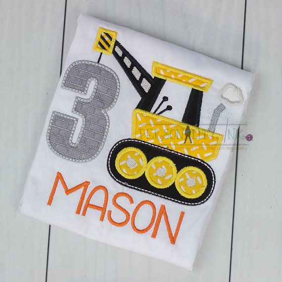 Construction birthday Shirt Boys crane tshirt by personalityink