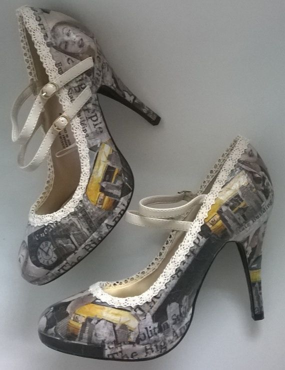 Marilyn Monroe Decoupage Shoes, Mary Jane shoes, customised shoes, unusual shoes, vintage shoes, hollywood glamour, film icon, girl gift