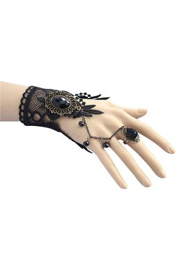 Look for this black rose beaded lace bracelet with flower ring presented by Returnfavors was decorated with beautiful black color flower will give the shining appearence in the matching wardrobe as the unique fashion accessory.The lace chain design bracelet was made from soft lace bracelet looks classy can be tailored for any occasions.