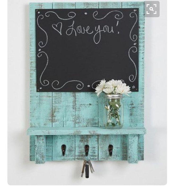 24″ x 17″ distressed pain pallet wood key holder shelf entry way mudroom real chalkboard mail holder organizer memo board message center