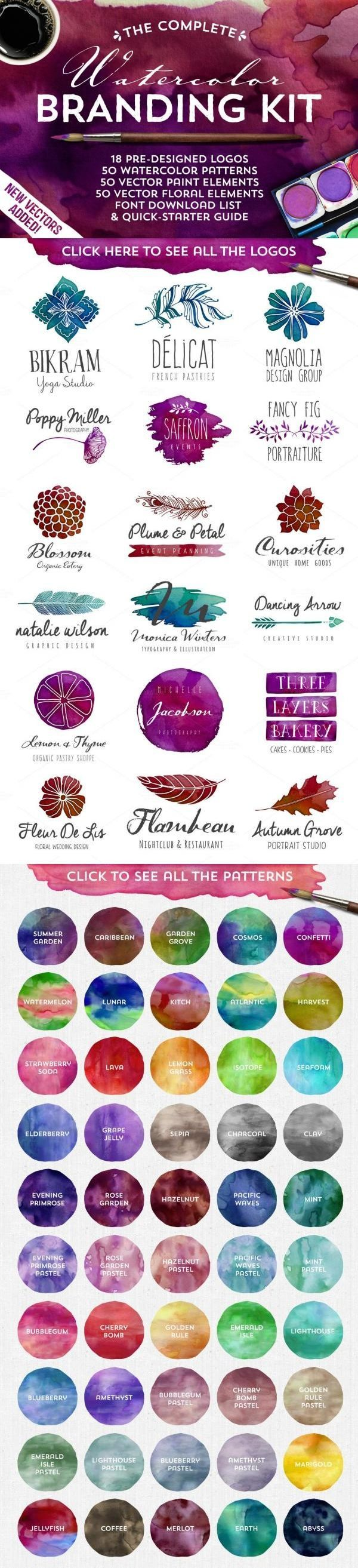 Introducing the Complete Watercolor Branding Kit! It has everything you need to design a totally awesome, vector watercolor logo. Discover all the amazing design goods 97% off only on Creative Market. (Ends 3/17) https://creativemarket.com/bundle/march-big-bundle?utm_content=buffera09bd&utm_medium=social&utm_source=pinterest.com&utm_campaign=buffer