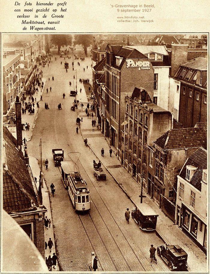 Mooi gezicht op het verkeer in de Groote Marktstraat 's Gravenhage in beeld, 9 september 1927