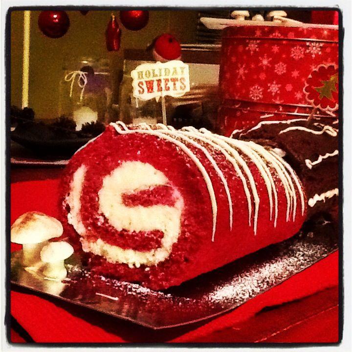 Red velvet log cake