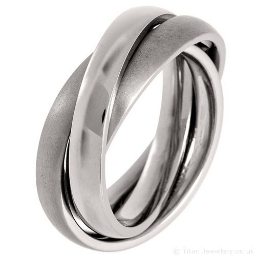 2 Brushed 1 Polished Russian Titanium Wedding Ring