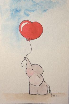 L Elephanteau Au Coeur Rouge Aquarelle Sur Papier Format 10 X 15
