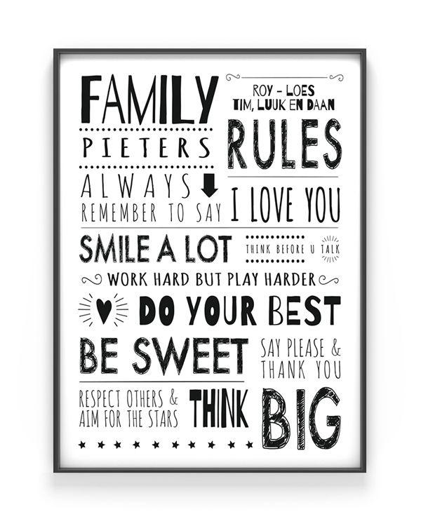 Printcandy - gepersonaliseerde Family Rules Poster - Zelf online poster maken - Family Prints, geboorteposters, tekstposter