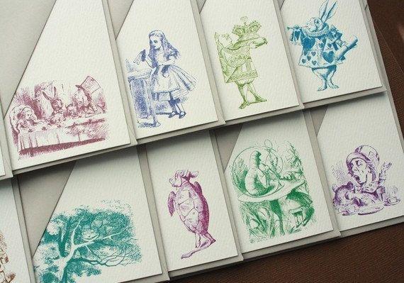 Vintage Alice in Wonderland Stationery Set 10 by ThePaperDollsCo, $19.50