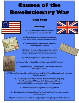 Causes of the American Revolution Unit: 12 Highly-Engaging Activities and Lessons!