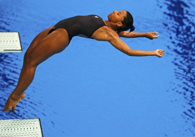 Canada's Jennifer Abel performs a dive during the women's 3m springboard final at the London 2012 Olympic Games at the Aquatics Centre August 5, 2012.