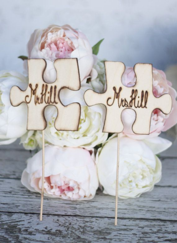Wedding Cake Topper Custom Puzzle Pieces Item by braggingbags