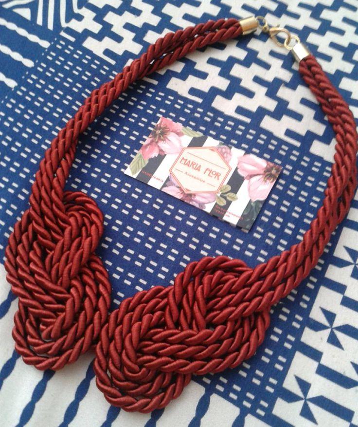 colar trançado vermelho bordô - bijoux maria flor
