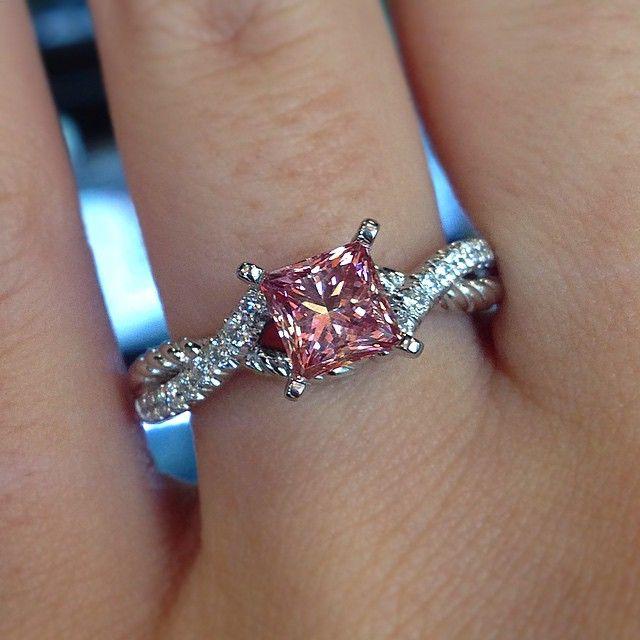 Pink diamond engagement ring