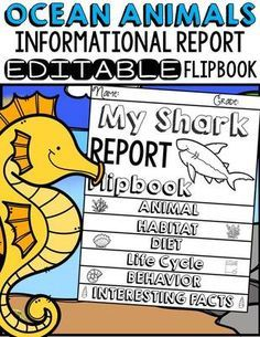TeachToTell  from  ANIMAL REPORT: OCEAN ANIMALS: INFORMATIVE WRITING on TeachersNotebook.com -  (62 pages) - Have your students write informational reports on 20 ocean animals! These flipbooks scaffold the structural components of an Informational Report at each stage of the writing process.