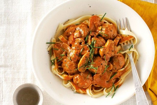 Traditional stroganoff is given a budget-friendly makeover in this tasty meatball version.