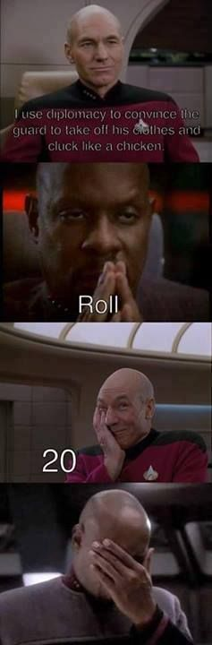 Picard and Sisko RPG. I love PIcard's expression when he rolls :)