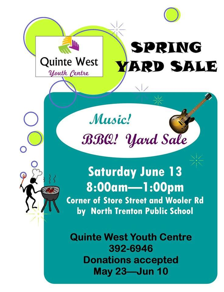 Yard Sale; Trenton, ON! Help our the children in our community. http://www.quintewestyouthcentre.com/