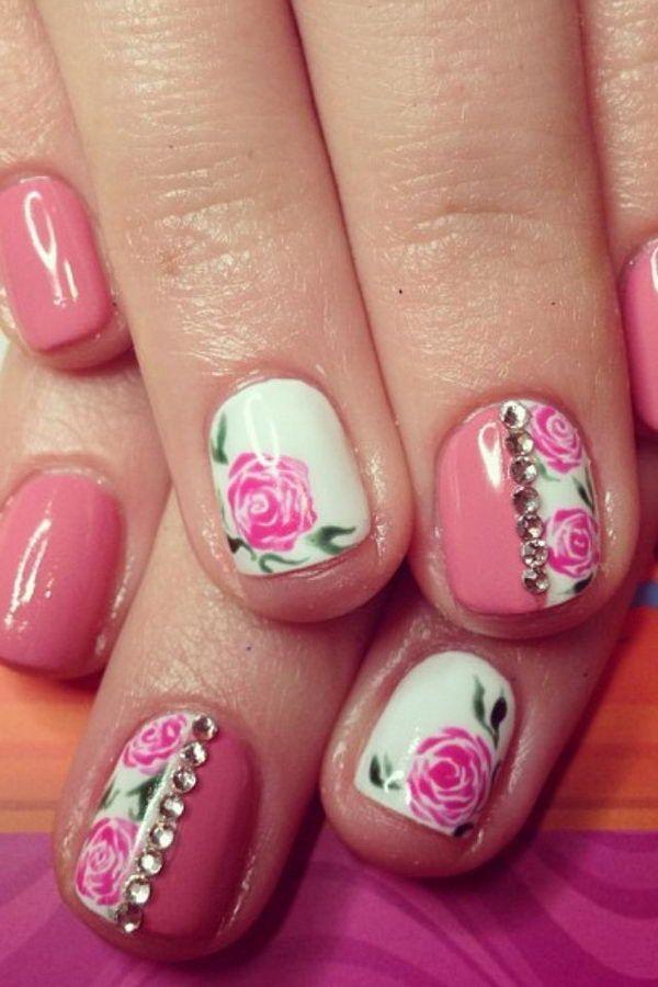 Pretty Nail Art Flower.  Estos diseños de flores son tan lindos y hacen una mirada manicura regular como una obra de arte.  http://hative.com/pretty-flower-nail-designs/