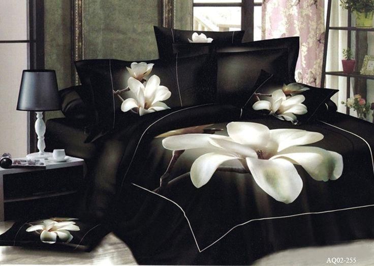 Black bedding sets duvet cover +pillocase set cushion cover bedclothes bed sheet 3pcs/set bed linen set Madonna lily bed cover