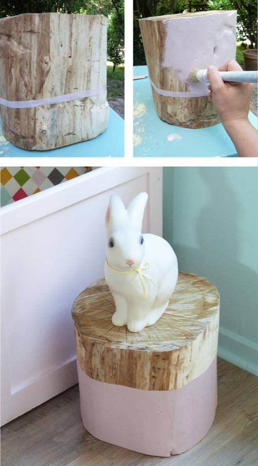 Dipped stump side table- love the pink!