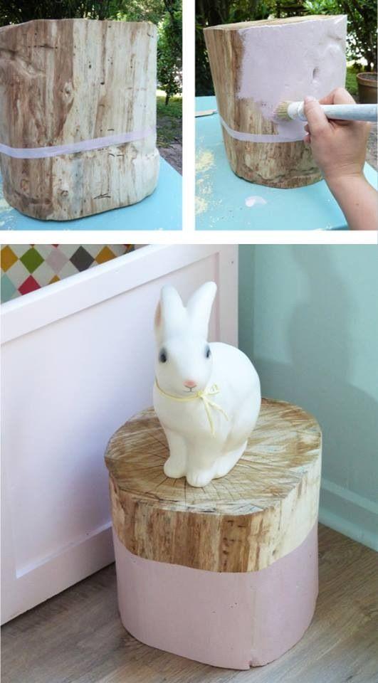Leuk als krukje bijvoorbeeld: een boomstronk met een beetje kleur.