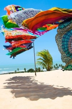 possibly what my clothes would look like blowin in the wind on the beach with all those great colors
