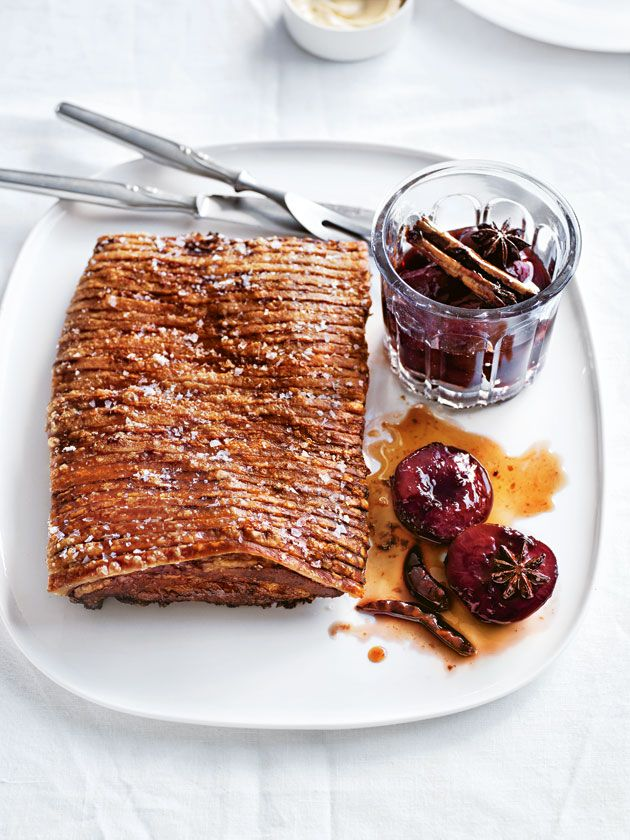 crispy pork belly with spiced plum sauce