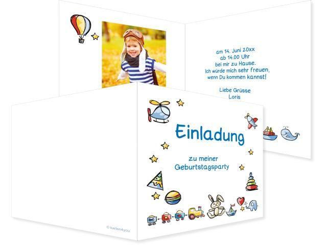 Spielsachen Buchzeichen 2-seitig 70x210mm blau / türkis, Geburtstag, Einladungskarten, Geburtstagskarten, Kindergeburtstag, Kids, Birthday,  Party, Birthdayparty