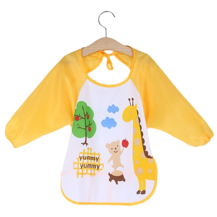 MiMoSa Baby Bibs Toddler Waterproof Long Sleeve Bib Boy Apron Animal Smock Bib Burp Cloths Kids Feeding Eating Smock Accessories
