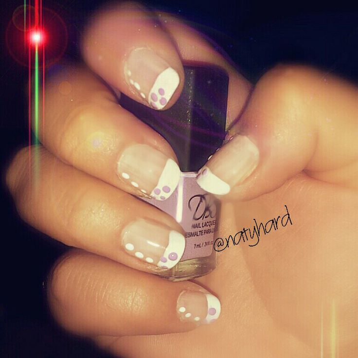 Francesa con puntos ♡ #nails #uñas #manicure #manos #esmalte #puntos #lila
