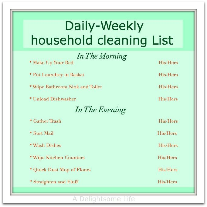 Household Chore Schedule  Odds And Ends  Weekly Cleaning -8602
