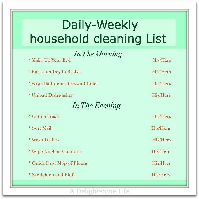 daily household chore list