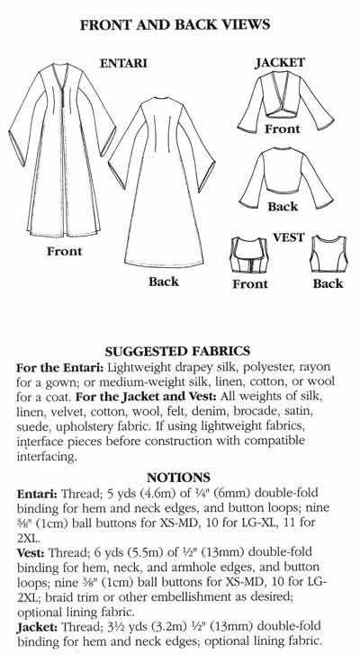 Folkwear Turkish Dancer Entari Robe Jacket /& Vest Costume Sewing Pattern 108