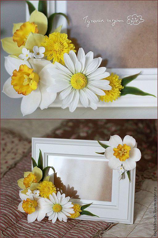 Купить Рамка для фото с нарциссами - желтый, нарциссы, весна, весенние цветы, ромашки, рамка для фото