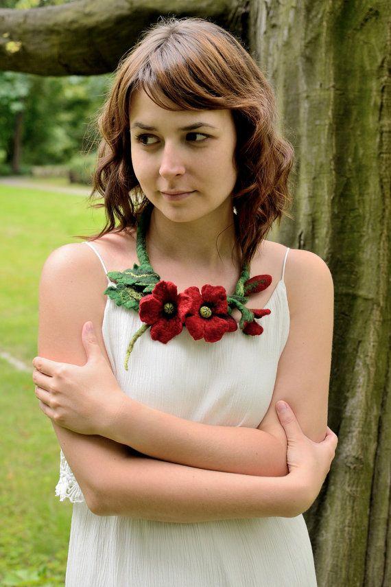 Collana papavero in feltro  feltro collana con fiori rossi