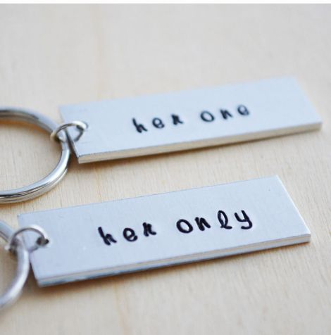 LGBT Lesbian Valentines Day Gifts for Her: Her One and Her Only Personalized Couples Keychains (set of 2) by Her Silver Lining @ Etsy
