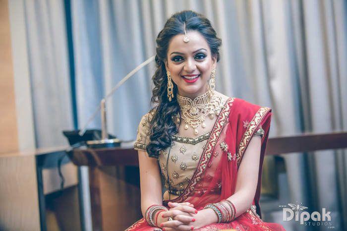 Bridal Wear - The Bride! Photos, Hindu Culture, Beige Color, Hairstyle, Bridal Makeup, Sangeet Makeup pictures, images, vendor credits - The Dipak Stu...
