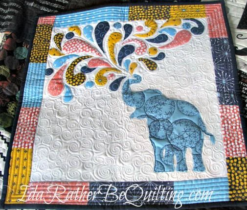 An Elephant Mini from Windham Fabric pattern pieced and quilted by Ida Rather Be Quilting