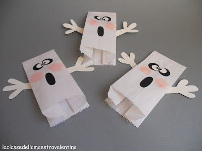Paper Bag Ghost Puppets. Turn upside down for a treat bag.
