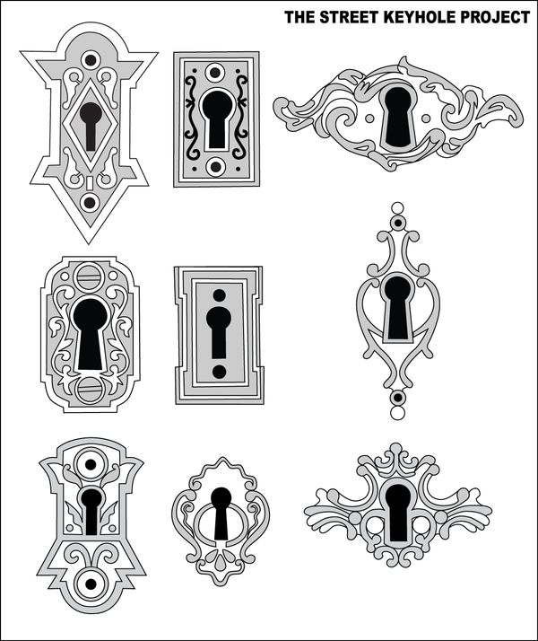Manually vectorized with Adobe Illustrator CS3 over photos of old keyholes. They are meant to be used as stickers for the Street Keyhole Project.