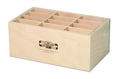 Holzbox GROSS für Stifte Pinsel Druckbleistifte, etc.. Koh-I-Noor Stiftebox Aufbewahrungsbox Pinselbox Stifteköcher