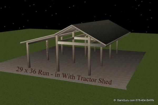 3 Stall Run In Shed Metal Roof