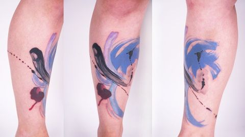http://www.tattooesque.com/wp-content/uploads/2014/01/Abstract-Watercolor-Tattoo.jpg Abstract Watercolor Tattoo #lowerleg, #WatercolorTattoos