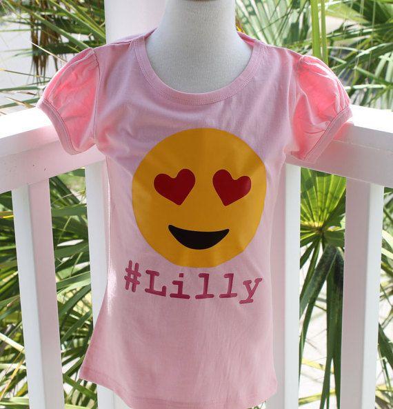 Emoji shirt Girls Love Heart Emoji shirt  by AKidsDreamBoutique