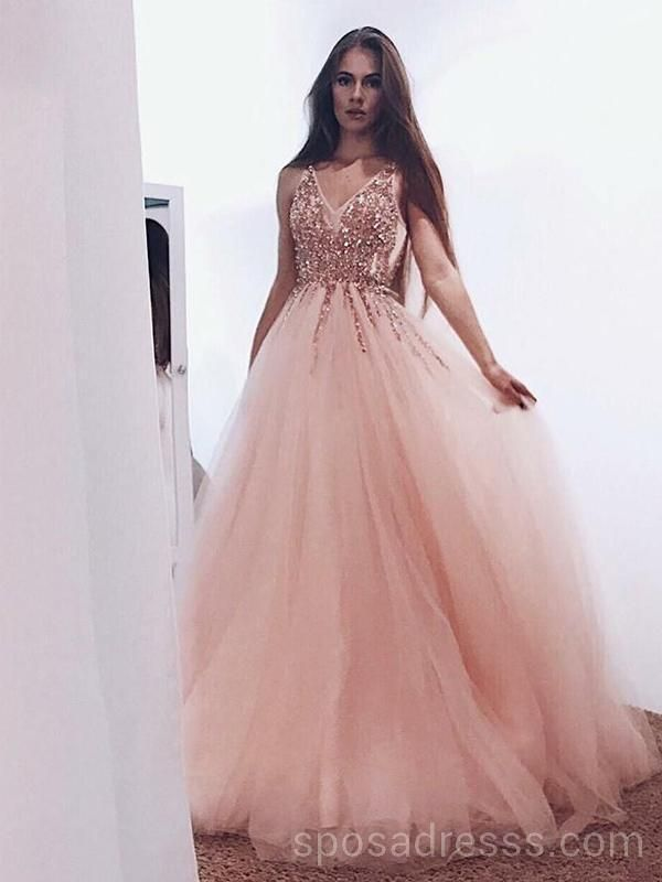 afc1590a193 Peach Tulle Rose Gold Beaded Long Evening Prom Dresses