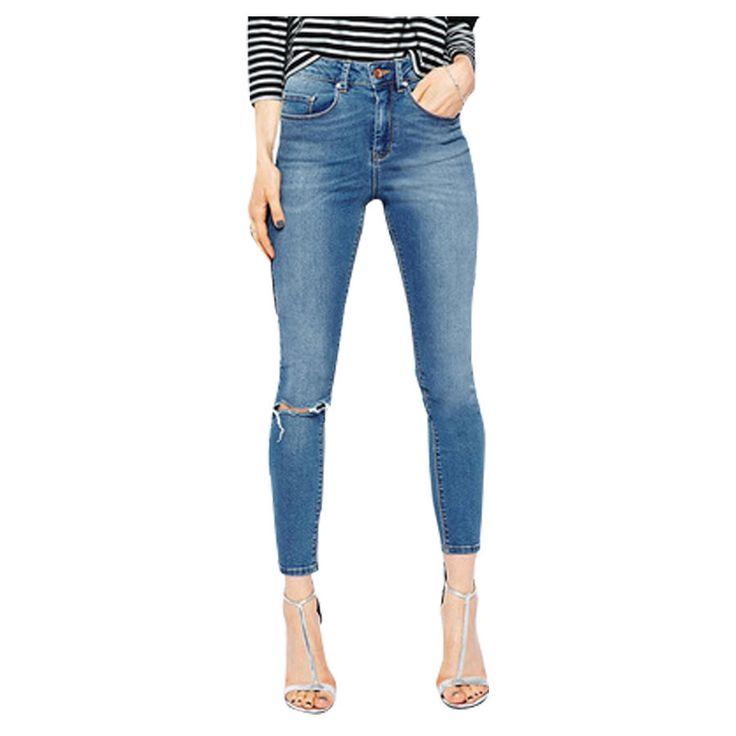 Skinny Jeans For Women Slim Pencil Pants Knee Hole Design Jeans Women Plus Size Cowboy Pants