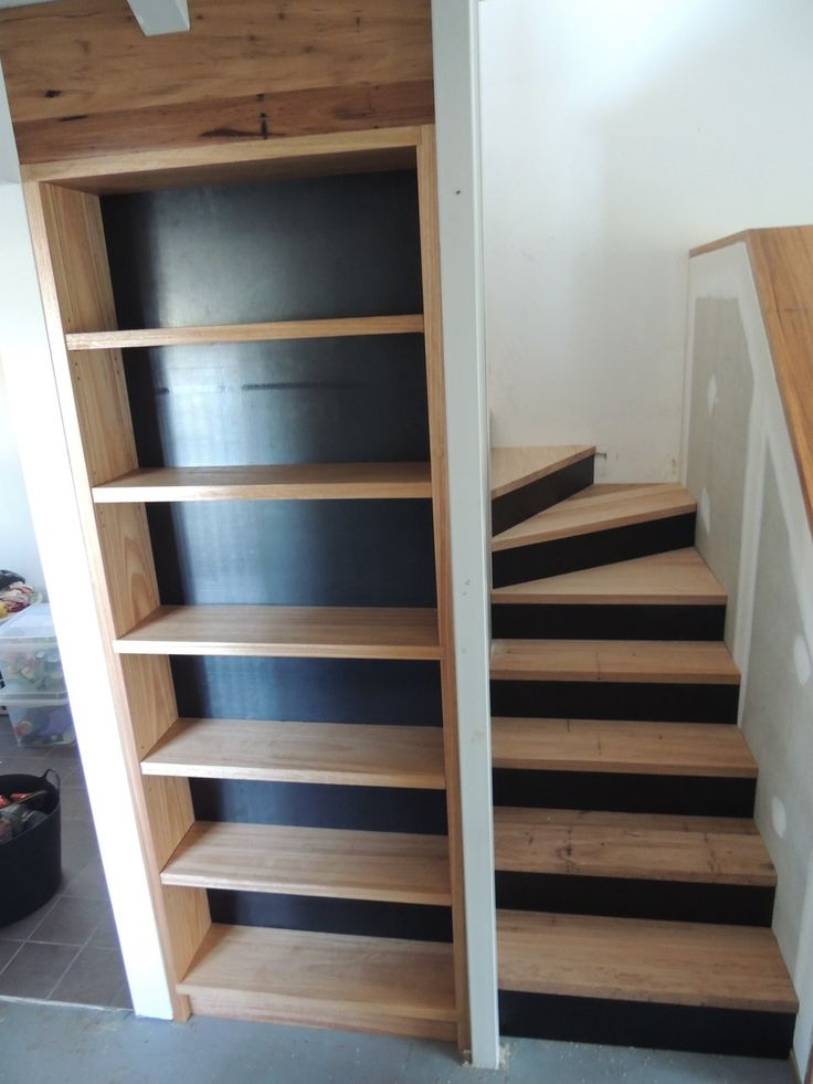 Ash and blackbutt staircase and bookshelf with formply risers and backing premiumtimberprojects.com.au